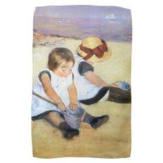 Mary Cassatt Children Playing on the Beach Towel