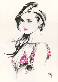 #Rosie_Huntington_Whiteley #OHGUSHI #Fashion_illustration #Cosmetic…