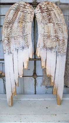 Large angel wings wood metal rusted ivory gold by AnitaSperoDesign, $195.00