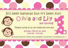 Twin Girls First Birthday  Monkey Theme by inkberrycards on Etsy