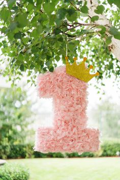Once Upon A Time Birthday Party idea Princes Crown Pinata A Touch of Pink First Birthday Party Favor, Princess Birthday Party Decorations, Princess Theme Birthday, Birthday Pinata, 1st Birthday Party For Girls, Girl Birthday Themes, Fairytale Birthday Party, First Birthday Crown, Birthday Crowns