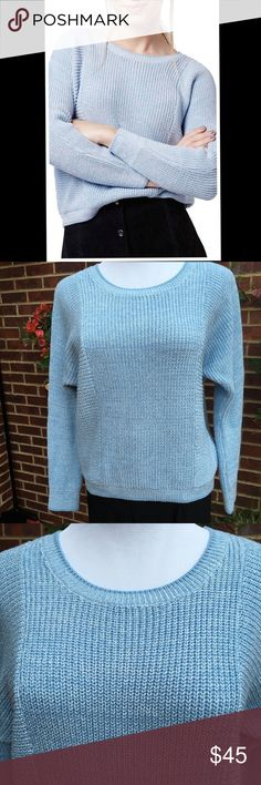 Topshop Blue Ribbed Crop Sweater Worn once. In excellent condition! Topshop Sweaters