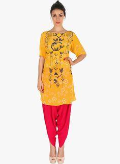 Soup Yellow Printed Kurta Salwar Set #Ethnic #SalwarSuit #Yellow