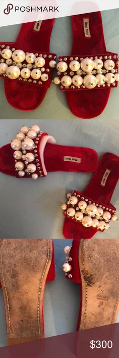 Red jeweled sanded slide Good condition, gently worn. No jewels missing. Fits US women's size 7.5-8 Miu Miu Shoes Sandals
