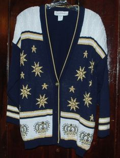 Ugly Sweater Party Norton McNaughton Cardigan Medium Blue Gold Stars Crowns VTG #NortonMcNaughton #Cardigan