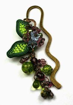 Larris handmade soutache and OOAK: Soutache flower bookmark