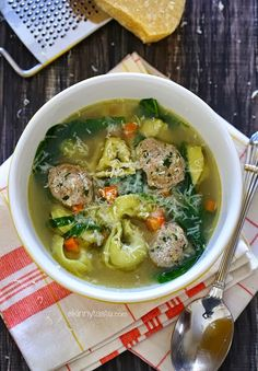 Turkey Meatball Spinach Tortellini Soup kid-friendly and delicious!