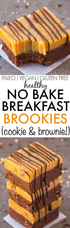 Healthy No Bake BREAKFAST BROOKIES {brownie and cookie!}- Loaded with chocolate AND cookie dough and ridiculously fudgy, these wholesome brookies have NO butter, NO oil, NO grains and NO sugar! Easy and simple too! {vegan, gluten free, paleo recipe}- thebigmansworld.com