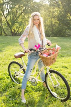 Sarah Kehoe Candy Shop : Denim Daze   A blonde female model poses on a vintage bike surrounded by nature and everything summer.   Flare   Sunlight   Hippie   Women's Fashion