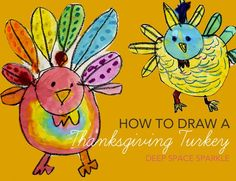 Kids learn to draw and paint a Thanksgiving Turkey from Deep Space Sparkle