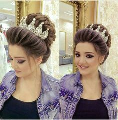 Indian Hairstyles, Bride Hairstyles, Bridal Hair Buns, Different Hairstyles, Tips Belleza, Stylish Hair, Hair Dos, Bridal Makeup, Hair Inspiration