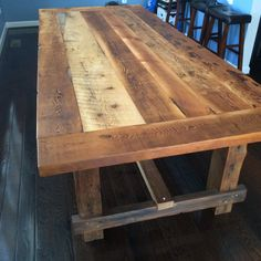 DIY und Selbermachen Farmstyle dining table handmade from by ReclaimedRefinement Sauna Room Packages Farm Style Dining Table, Barn Table, Farmhouse Dining Room Table, Wood Table, Rustic Furniture, Diy Furniture, Barn Wood Crafts, Reclaimed Barn Wood, Woodworking Plans