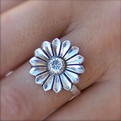 Pure silver Mexican sunflower ring - made to order in your size. $63.00