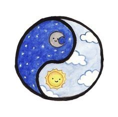 moon and the sun, ying yang drawings kawaii Eliana Bff Drawings, Cute Disney Drawings, Cute Little Drawings, Mini Drawings, Cute Cartoon Drawings, Cute Easy Drawings, Cute Kawaii Drawings, Cool Art Drawings, Pencil Art Drawings