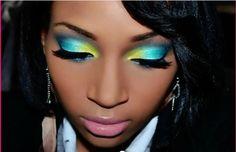 blue green bright eye shadow eye makeup eyes