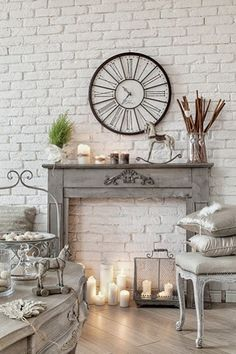 Wonderful Images Faux Fireplace mantel Suggestions I love a very good faux fireplace , allows always be authentic I'd LOVE a hearth around my bedroom Faux Fireplace Mantels, Fireplace Design, Faux Foyer, Provence Interior, Handmade Wall Clocks, Provence Style, How To Make Wall Clock, Christmas Home, French Christmas