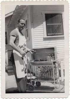 Bar-B-Qing in the 50s/60s. The man of the house was usually 'king' of BBQ.