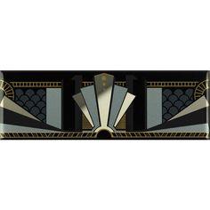 Black Manhattan Border With real Gold and Platinum on Brilliant White Art Deco Tiles, Art Deco Mirror, Wall Tiles, Art Nouveau Furniture, Art Deco Bedroom, Backyard Pool Designs, Blue Clutch, Design Movements, Art Deco Design