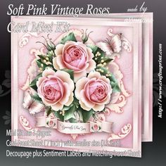 Soft Pink Vintage Roses Card Mini Kit on Craftsuprint designed by Atlic Snezana - Soft Pink Vintage Roses Card Mini Kit: 3 sheets for print with decoupage for 3D effect plus few sentiment tags (for your own personal text). - Now available for download!
