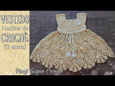 Crochet Girls Dress Pattern, Crochet Cowl Free Pattern, Crochet Chart, Crochet Patterns, Crochet Baby Sweaters, Crochet Baby Clothes, Baby Knitting, Baby Princess, Baby Dress