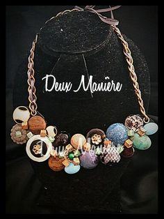 Vintage Necklace de piedras y botones. Deuxmaniere@gmail.com