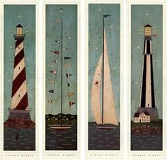 Nautical Panels Set of 4 Warren Kimble Folk Picture Art