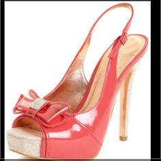 Host pick Girly Girl party 3/22BCBG Adorable BCBGeneration coral paten leather peer toes.  Only worn Twice!  Comes with original box. BCBGeneration Shoes