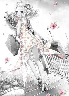 une image en noir et blanc avec en contraste des fleurs roses