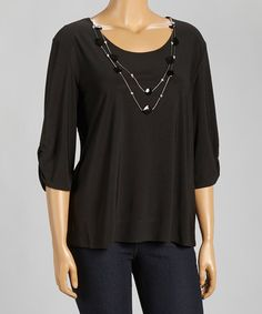 Love this Black Three-Quarter Sleeve Top & Beaded Necklace - Plus on #zulily! #zulilyfinds