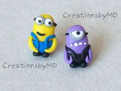 minions stud earrings polymer clay fimo handmade by CreationsbyMD