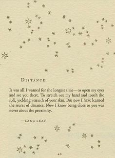 Distance. I am still connected to you.