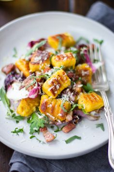 Gluten-Free Pumpkin Ricotta Gnocchi with Pancetta and Seared Radicchio