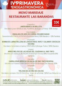 Disfruta de este menú maridaje en el restaurante Las Barandas durante la #IVPrimaveraEnogastronómica #gastroturismo #enoturismo #Badajoz #Extremadura