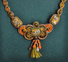 Happy orange :) by Raluca Robu on Etsy Soutache Necklace, Mixed Media Jewelry, Orange Is The New Black, Macrame Jewelry, Earring Set, Trending Outfits, Unique Jewelry, Handmade Gifts, Happy