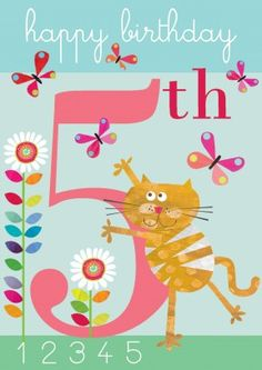 Will the ginger cat have any luck catching the birthday butterflies? A butterfly for each year. A brilliant happy birthday card for a five year old. A fun birthday card for your little niece, nephew, brother, sister or grandchild.