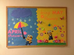 16 Ideas For Spring Classroom Door Decorations Ideas April Showers Minion Bulletin Board, Spring Bulletin Boards, Church Bulletin Boards, Preschool Bulletin Boards, Classroom Crafts, Preschool Crafts, Classroom Door, February Bulletin Board Ideas, Bullentin Boards