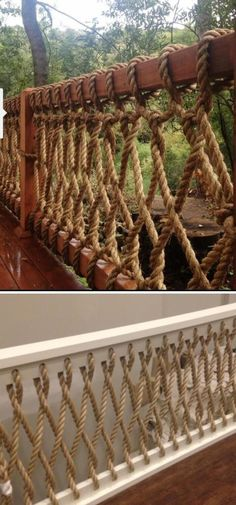 Awesome DIY Deck Railing Designs & Ideas For 2019 Do you have a favorite outdoor space? If yes, could it be your backyard? Or maybe it is your deck. Here are some DIY deck railing ideas you can use to create a wonderful deck space for your enjoyment. Deck Railing Design, Deck Railings, Deck Design, House Design, Rope Railing, Deck Railing Ideas Diy, Indoor Railing, Decking Ideas, Balcony Railing