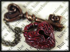 Heart Lock and Key Necklace, Jewelry, Handmade