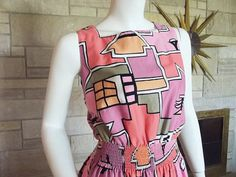 Vintage 80s Malia Sun Dress Pink Novelty by TopSpecialVintage, $40.00