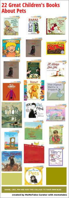 Books about pets, dogs, cats, fishes and more.