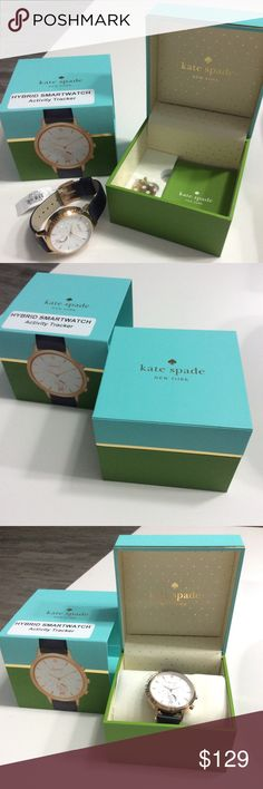 KateSpade ♠️ Hybird Smart Watch KateSpade ♠️ Black leather gold accent Hybird Smart Watch with original Kate Spade Box 100% Authentic 100% Brand new    Originally price is $ 250 now it's $ 129  Works with Android OS 4.4 or iPhone iOS 8.1+ kate spade Accessories Watches