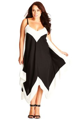 City Chic Mono Border Dress - Women's Plus Size Fashion City Chic - City Chic…