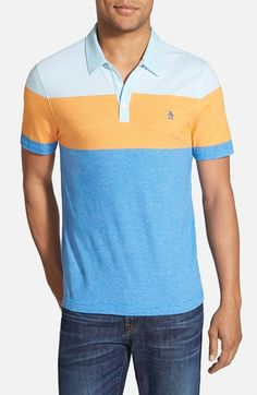 Original Penguin Stripe Colorblock Polo available at Stripes Fashion, Penguins, Color Blocking, Polo Ralph Lauren, Nordstrom, Cotton, Mens Tops, How To Wear, Style