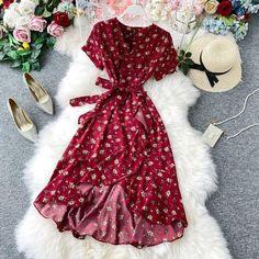 Boho Vintage floral print ruffles v neck bandage irregular tunic dress Casual Dress Outfits, Trendy Dresses, Stylish Outfits, Cute Dresses, Beautiful Dresses, Short Sleeve Dresses, Girls Fashion Clothes, Fashion Dresses, Boho Dress