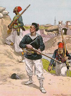 L to R; Tirailleur, Fusilier Marins & Zouave 1870 by  Frédéric Regamey