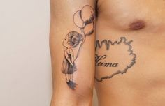 Girl with baloons done by Niels, #girl, #baloon, #baloons, #heart, #tattoo, #ink, #nijmegen, #nijmegenink, #fine , #lines, #therisingbastards, #risingbastards, #tattooshop, #tattoostududio, #piercingshop, #piercingstudio