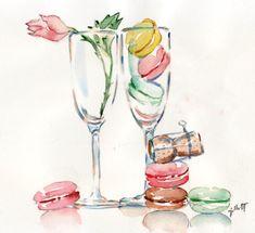 Champagne glasses from Carol Gillott's lovely Paris Breakfast.