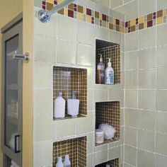 Like how the storage Cubbies are on the end of tub wall so stuff isn't visible from hallway