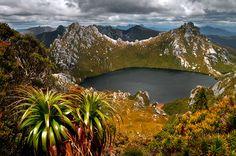 Lake Oberon in the Western Arthur Range, Tasmania.
