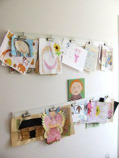 Buy or DIY: Easy Ways to Display & Store Kids' Artwork Roundup -- display my vintage handkerchiefs with the finshing line(?) and binder clips Art Wall Kids, Art For Kids, Crafts For Kids, Kid Art, Kids Fun, Playroom Art, Playroom Ideas, Wall Art, Displaying Kids Artwork
